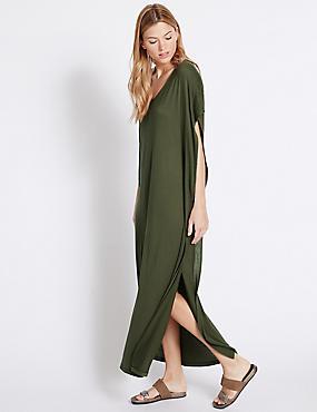 Angel Sleeve Maxi Dress, KHAKI, catlanding