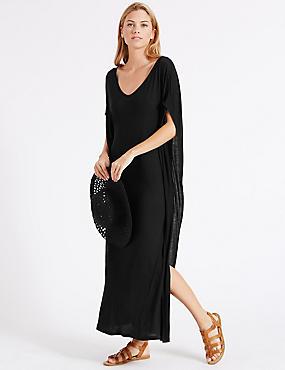 Angel Sleeve Maxi Dress, BLACK, catlanding