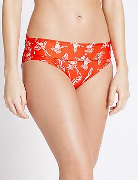 Parrot Print Roll Top Hipster Bikini Bottoms, ORANGE MIX, catlanding