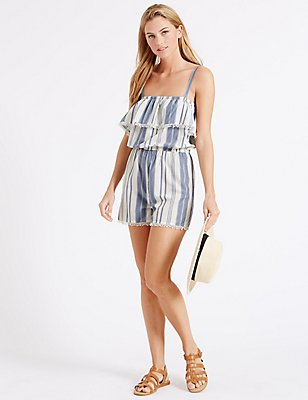 Pure Cotton Striped Playsuit, BLUE MIX, catlanding
