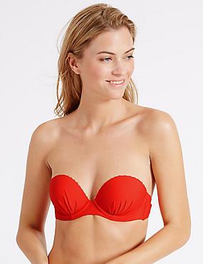 Push-up-bikinitop in plunge-model voor cupmaten B-E, GEVLAMD, catlanding