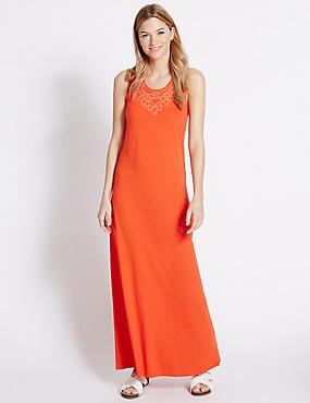 Pure Cotton Jersey Applique Maxi Dress, ORANGE, catlanding