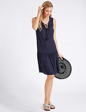 Crinkle Woven Vest Dress, NAVY, catlanding