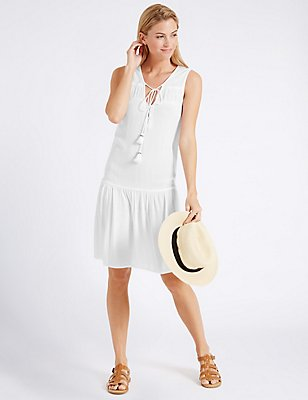 Crinkle Woven Vest Dress, WHITE, catlanding