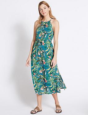 Tropical Print High Neck Maxi Dress, TEAL MIX, catlanding