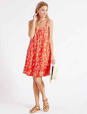 Parrot Print Woven Vest Dress, CORAL MIX, catlanding