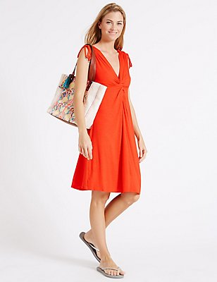 Knot Front Vest Dress, ORANGE, catlanding