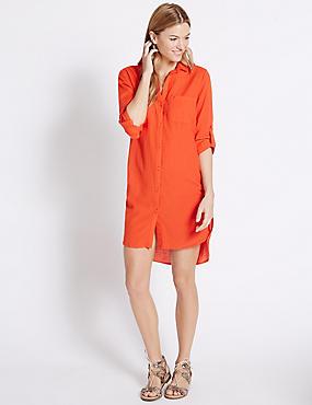Pure Cotton Dipped Hem Shirt Dress, ORANGE, catlanding