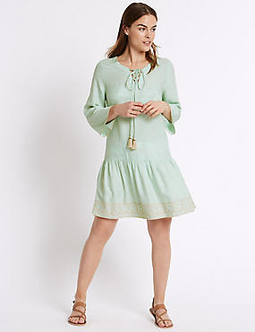 Embroidered Lace Up Midi dress, MINT MIX, catlanding