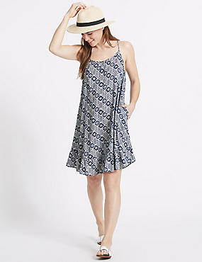 Tile Print Beach Dress, NAVY MIX, catlanding