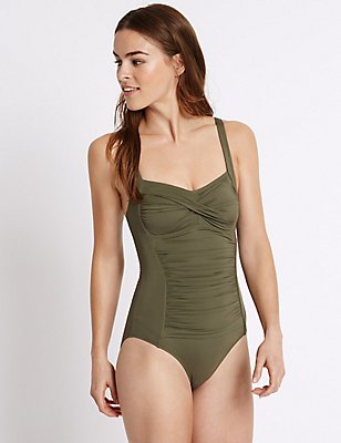 Secret Slimming™ Twisted Ruched Swimsuit, KHAKI, catlanding