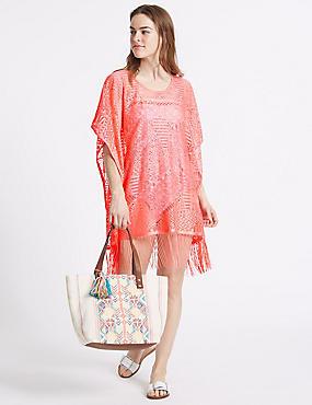 Lace Short Sleeve Kaftan, CORAL, catlanding