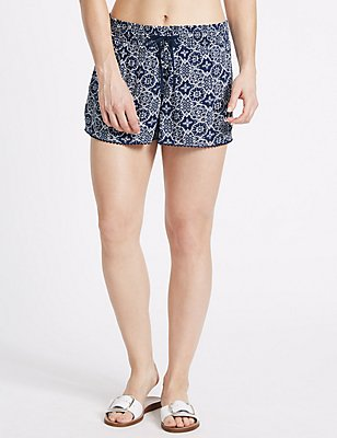 Tile Print Shorts, NAVY MIX, catlanding