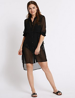 Chiffon Long Sleeve Shirt Dress, BLACK, catlanding