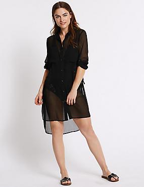Chiffon Long Sleeve Shirt Dress, BLACK, catlanding