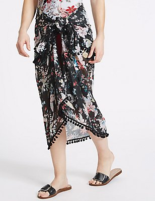 Floral Print Sarong with Pom-Pom, BLACK MIX, catlanding