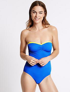 Secret Slimming™ Bandeau Swimsuit, BLUE MIX, catlanding