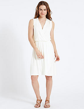 Cross Over Wrap Dress, WINTER WHITE, catlanding