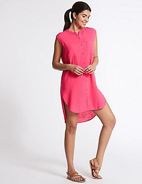 Pure Cotton Dipped Hem Shirt Dress, VERY PINK, catlanding