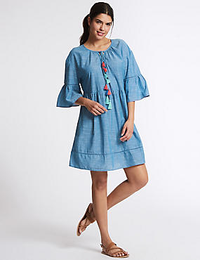 Pure Cotton Tassel Cover Up, CHAMBRAY, catlanding