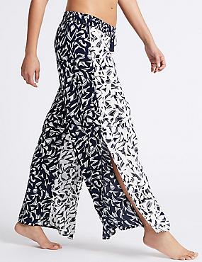 Horizon Print Wide Leg Beach Trousers, BLUE MIX, catlanding