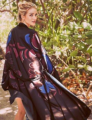 Printed Maxi Kimono, BLACK MIX, catlanding