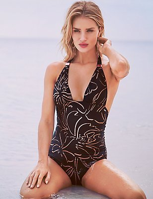 Elongated Triangle Slide Swimsuit with Preformed Cup, BLACK MIX, catlanding