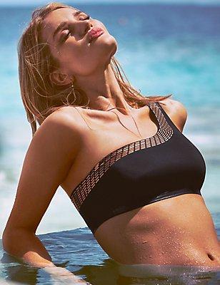 One Shoulder Gold Foil Bikini Top, BLACK, catlanding
