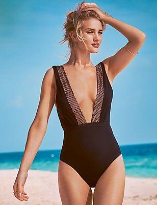 Gold Foil Deep Plunge Swimsuit, BLACK, catlanding