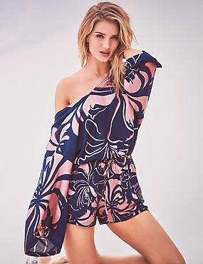 Playsuit Cover Up With Print, NAVY MIX, catlanding