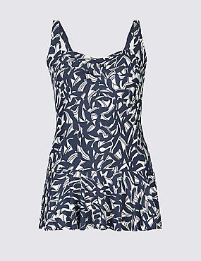 PLUS Secret Slimming™ Skirted Swimsuit, NAVY MIX, catlanding