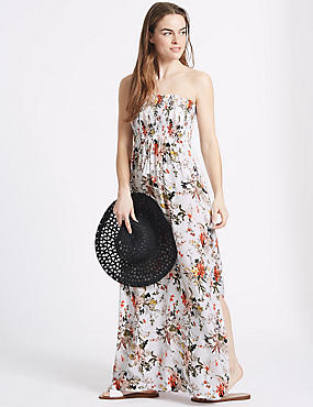 Floral Print Shirred Maxi Beach Dress, WHITE MIX, catlanding