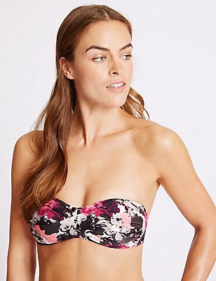 Floral Print Bandeau Bikini Top, MULBERRY MIX, catlanding
