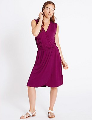 Sleeveless Wrap Over Beach Dress, MULBERRY MIX, catlanding