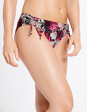 Floral Print Hipster Bikini Bottoms, MULBERRY MIX, catlanding