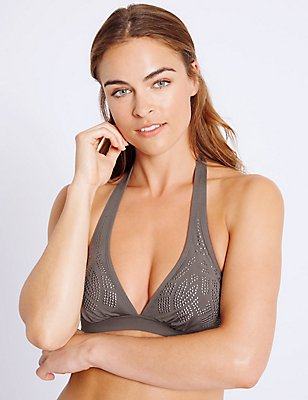 Studded Triangle Bikini Top, GREY MIX, catlanding