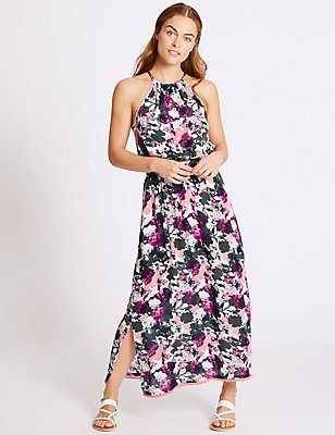 Floral Beaded Midi Dress, BERRY, catlanding