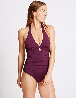 Secret Slimming™ Plunge Swimsuit , BERRY, catlanding