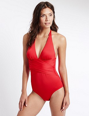 Cross Waist Halterneck Swimsuit , RED, catlanding