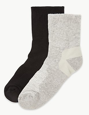 2 Pair Pack Cotton Rich Blister Resist Ankle Socks, GREY MIX, catlanding