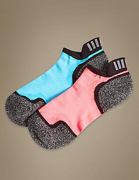 2 Pair Pack High Impact Trainer Liner Socks, BLACK MIX, catlanding