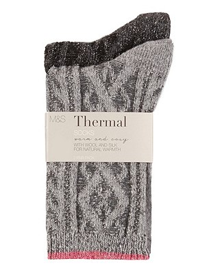 Thermal Cable Knit Socks with Wool 2 Pair Pack, GREY MIX, catlanding