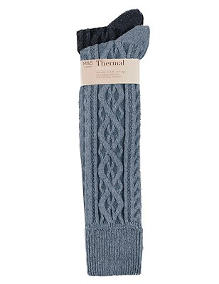 Thermal Cable Knit Knee Highs with Wool 2 Pair Pack, GREY MIX, catlanding
