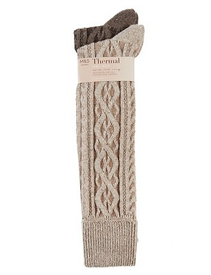 Thermal Cable Knit Knee Highs with Wool 2 Pair Pack, NATURAL MIX, catlanding