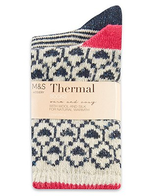 Thermal Assorted Socks with Wool 2 Pair Pack, NAVY MIX, catlanding