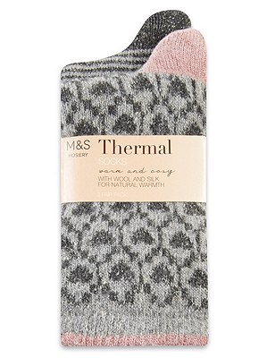 Thermal Assorted Socks with Wool 2 Pair Pack, GREY MIX, catlanding