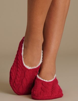 Тапочки-балетки с вязкой косами M&S Collection T600594