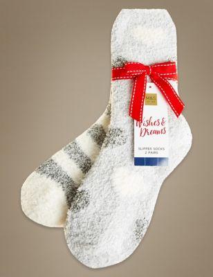 Носки в полоску и с принтом Heart (2 пары) M&S Collection T600607