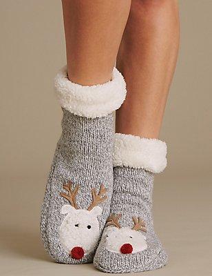 Reindeer Bootie Socks, GREY, catlanding