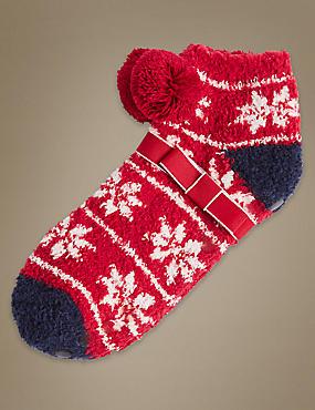 Pom Pom Fairisle Print Slipper Socks, RED MIX, catlanding